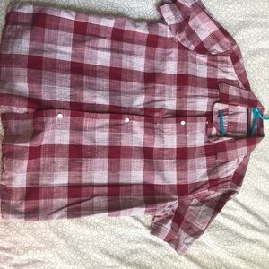 Perry Ellis Casual Button Up Shirt in Plaid Red